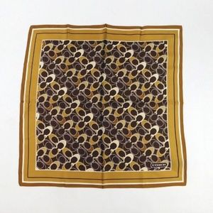 Coach Square Silk Logo Brown Gold Scarf